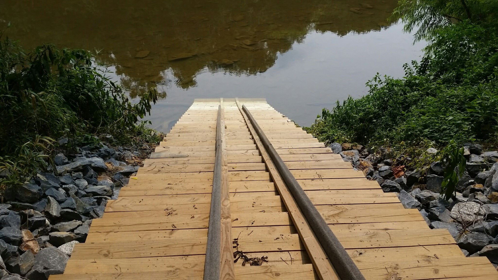 Ramp going into water at boat launch