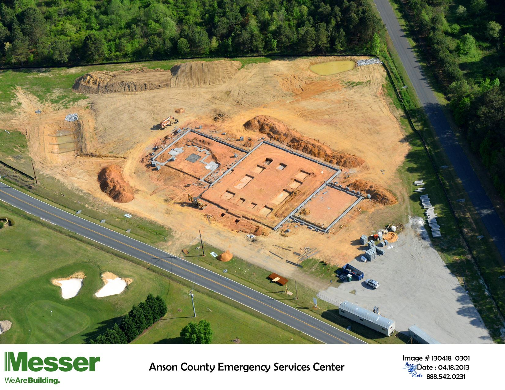 Aerial Photo of Anson County Emergency Services Center base of building constructed